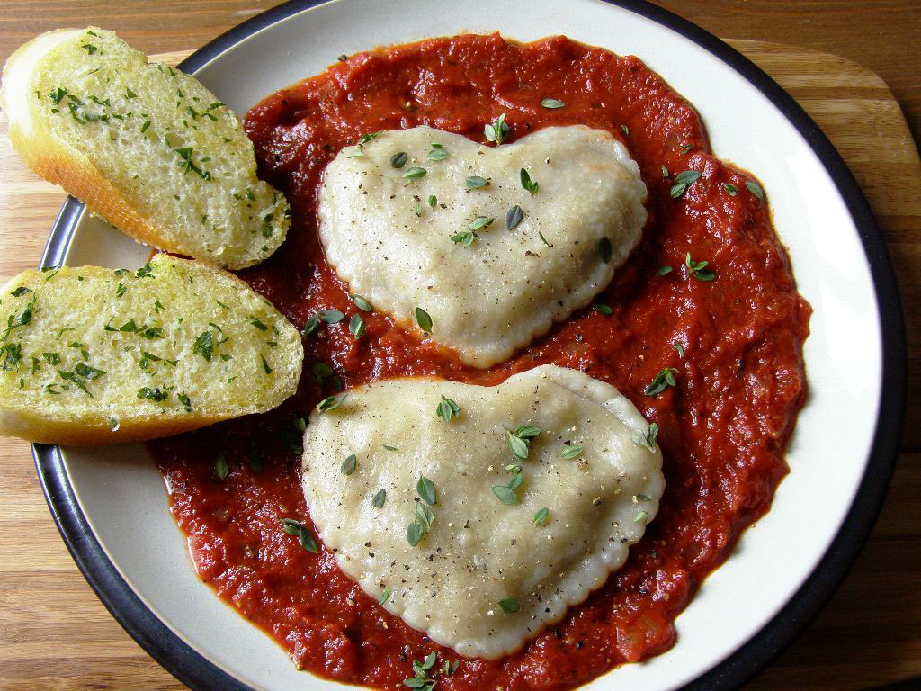 Artichoke Heart, Mushroom and Pine Nut filled Ravioli (heart shaped)